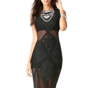 Bebe Net & Soutache Midi Dress Black